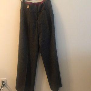 Gray pleated wideleg dress pants